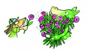 Hugo überreicht Niko Blume