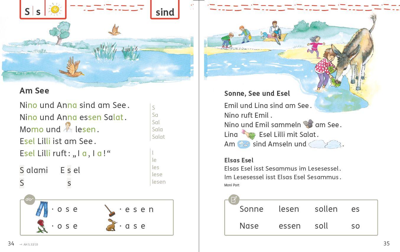 Bsp. Bücherwurm Fibel, Grundschwortz üben, Seite 34/35
