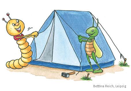 Bücherwurm Grashüpfer Zelt