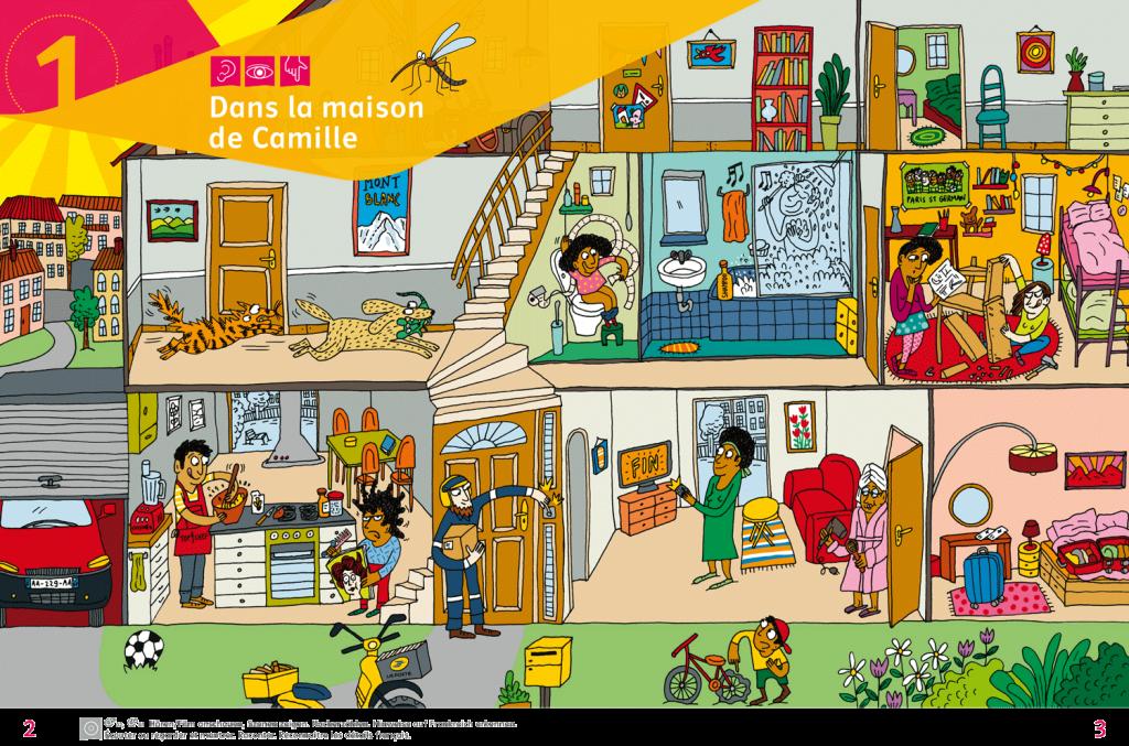 Abb.: Französisch, Chez moi Seite 02/03, Wimmelbild, Illustration: Adrienne Barman, Grandson