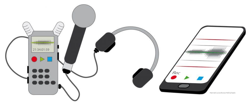 Aufnamegerät und Smartphone