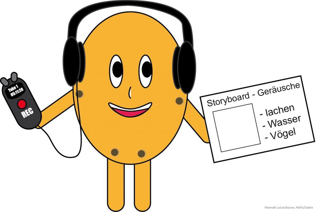 Filmprojekt Figur mit Kopfhörern und Storyboard