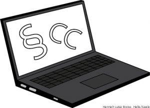 Laptop mit Paragraf und CC
