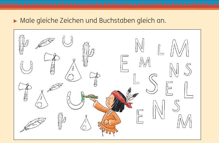 Meine Indianerhefte: Buchstaben und Laute 1/2, Seite 19, Buchstaben und Zeichen anmalen und nachspuren