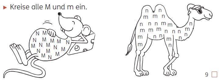 Meine Indianerhefte: Buchstaben und Laute 1/2, Seite 9, Wiedererkennen von Buchstaben im Buchstabenmix